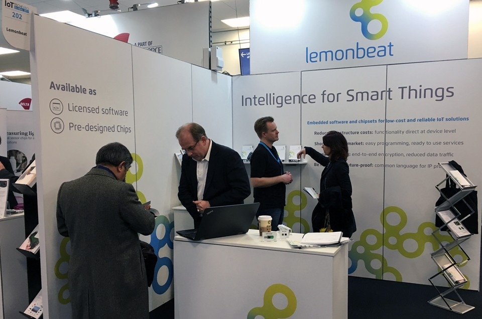 Lemonbeat Stand 202 at IoTTechExpo, Olympia, London. Frank Reusch (2nd from left) will talk about the increase of automation with intelligent devices on January 24. Photo: Edmund Barrett, Lemonbeat.